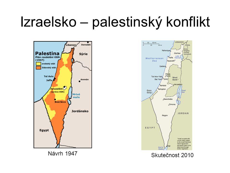 Izraelsko – palestinský konflikt Návrh 1947 Skutečnost 2010