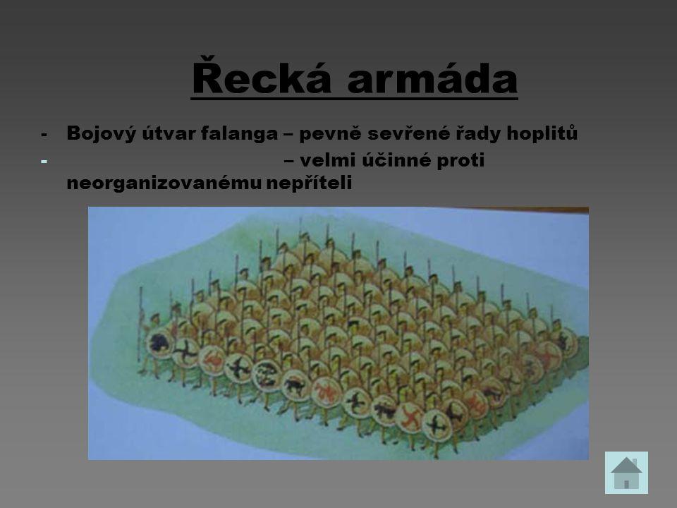 -Bojový útvar falanga – pevně sevřené řady hoplitů - – velmi účinné proti neorganizovanému nepříteli Řecká armáda