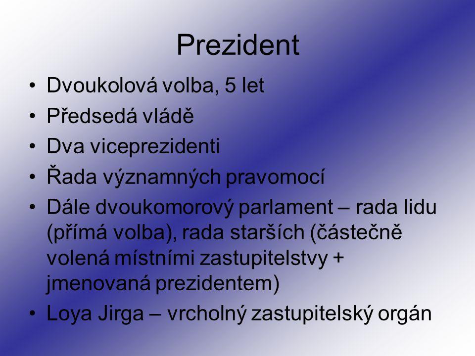 Prezident Dvoukolová volba, 5 let Předsedá vládě Dva viceprezidenti Řada významných pravomocí Dále dvoukomorový parlament – rada lidu (přímá volba), rada starších (částečně volená místními zastupitelstvy + jmenovaná prezidentem) Loya Jirga – vrcholný zastupitelský orgán