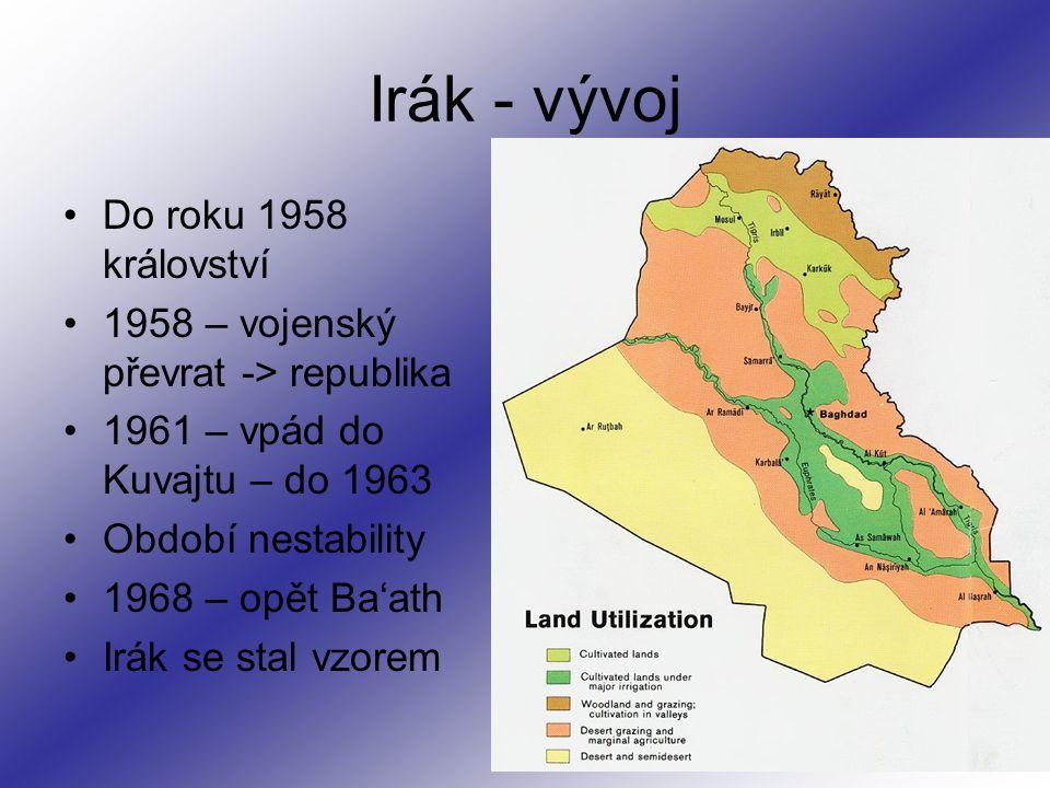 Irák - vývoj Do roku 1958 království 1958 – vojenský převrat -> republika 1961 – vpád do Kuvajtu – do 1963 Období nestability 1968 – opět Ba'ath Irák se stal vzorem
