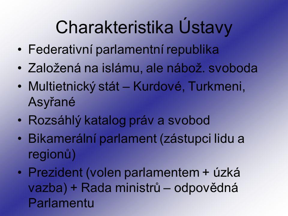Charakteristika Ústavy Federativní parlamentní republika Založená na islámu, ale nábož.