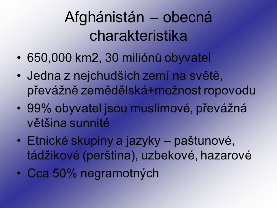 650,000 km2, 30 miliónů obyvatel Jedna z nejchudších zemí na světě, převážně zemědělská+možnost ropovodu 99% obyvatel jsou muslimové, převážná většina sunnité Etnické skupiny a jazyky – paštunové, tádžikové (perština), uzbekové, hazarové Cca 50% negramotných