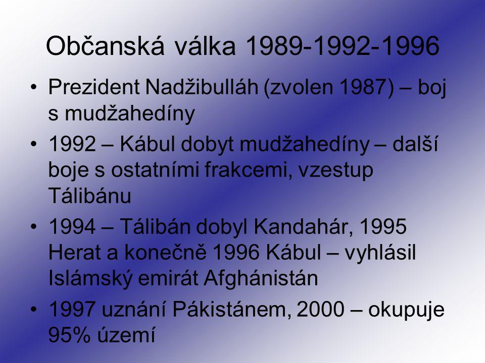 Občanská válka 1989-1992-1996 Prezident Nadžibulláh (zvolen 1987) – boj s mudžahedíny 1992 – Kábul dobyt mudžahedíny – další boje s ostatními frakcemi, vzestup Tálibánu 1994 – Tálibán dobyl Kandahár, 1995 Herat a konečně 1996 Kábul – vyhlásil Islámský emirát Afghánistán 1997 uznání Pákistánem, 2000 – okupuje 95% území