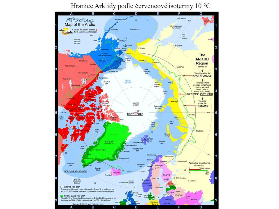 Hranice Arktidy podle červencové isotermy 10 °C