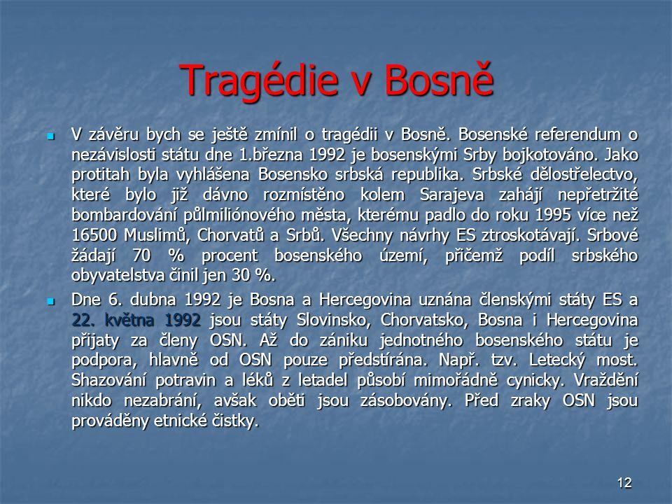 12 Tragédie v Bosně V závěru bych se ještě zmínil o tragédii v Bosně. Bosenské referendum o nezávislosti státu dne 1.března 1992 je bosenskými Srby bo