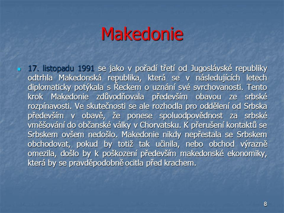 8 Makedonie 17. listopadu 1991 se jako v pořadí třetí od Jugoslávské republiky odtrhla Makedonská republika, která se v následujících letech diplomati