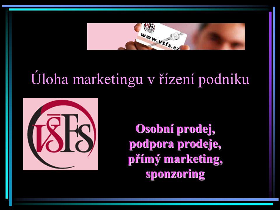 Úloha marketingu v řízení podniku Osobní prodej, podpora prodeje, přímý marketing, sponzoring