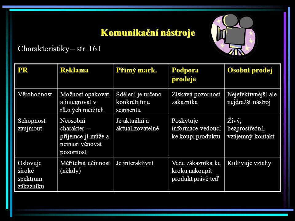 Komunikační nástroje Charakteristiky – str. 161 PRReklamaPřímý mark.Podpora prodeje Osobní prodej VěrohodnostMožnost opakovat a integrovat v různých m