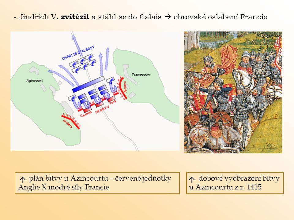 - Jindřich V. zvítězil a stáhl se do Calais  obrovské oslabení Francie plán bitvy u Azincourtu – červené jednotky Anglie X modré síly Francie dobové