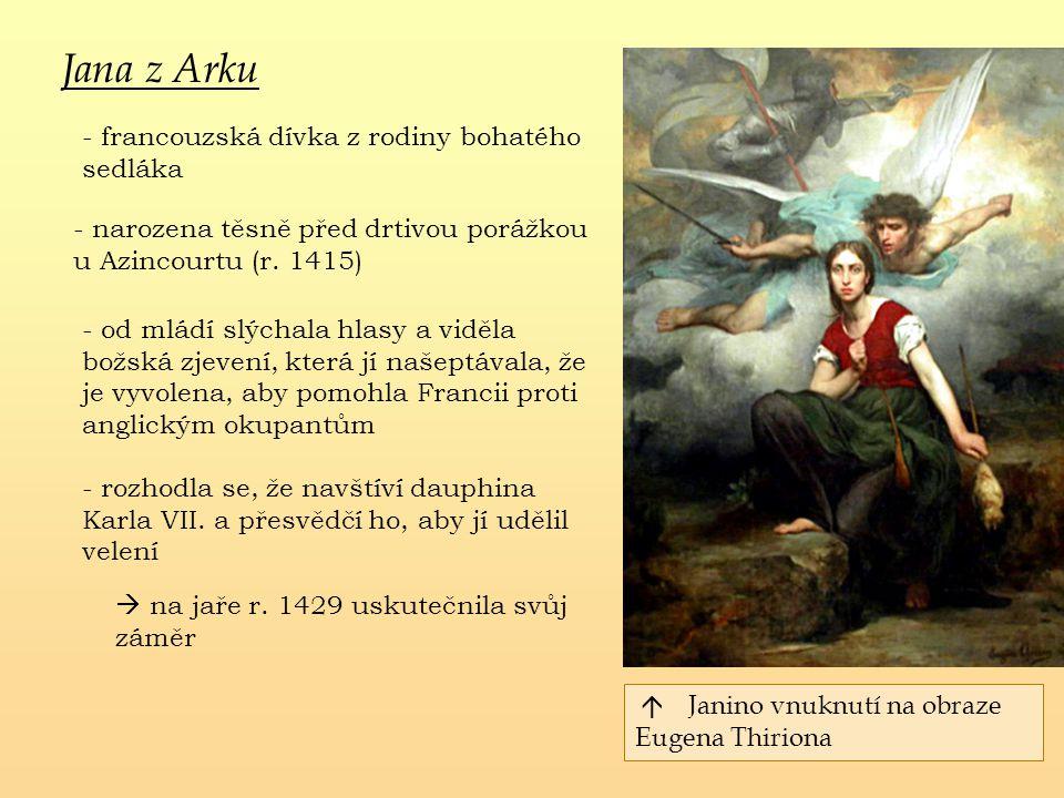 Jana z Arku - francouzská dívka z rodiny bohatého sedláka - od mládí slýchala hlasy a viděla božská zjevení, která jí našeptávala, že je vyvolena, aby