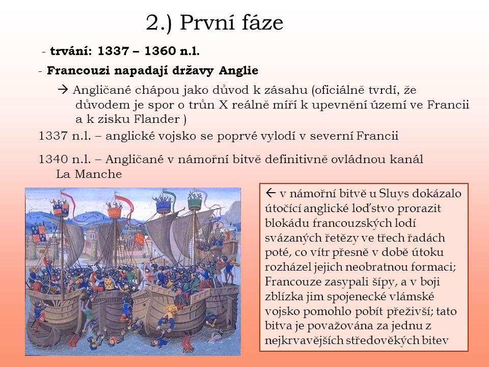2.) První fáze - Francouzi napadají državy Anglie  Angličané chápou jako důvod k zásahu (oficiálně tvrdí, že důvodem je spor o trůn X reálně míří k u