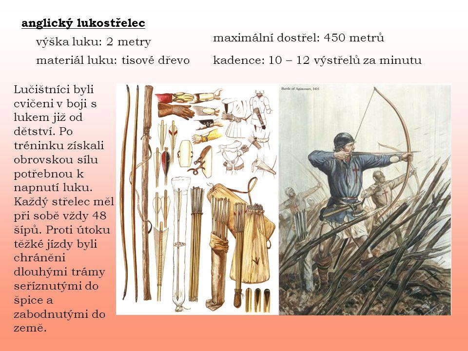 anglický lukostřelec výška luku: 2 metry materiál luku: tisové dřevo maximální dostřel: 450 metrů kadence: 10 – 12 výstřelů za minutu Lučištníci byli cvičeni v boji s lukem již od dětství.
