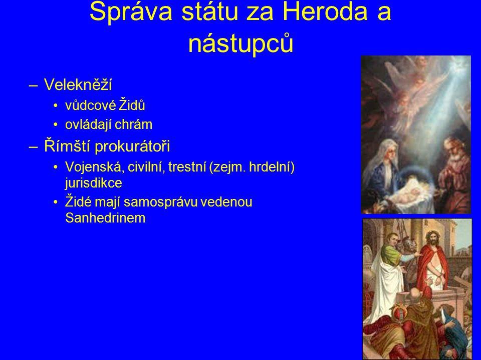 Správa státu za Heroda a nástupců –Velekněží vůdcové Židů ovládají chrám –Římští prokurátoři Vojenská, civilní, trestní (zejm. hrdelní) jurisdikce Žid