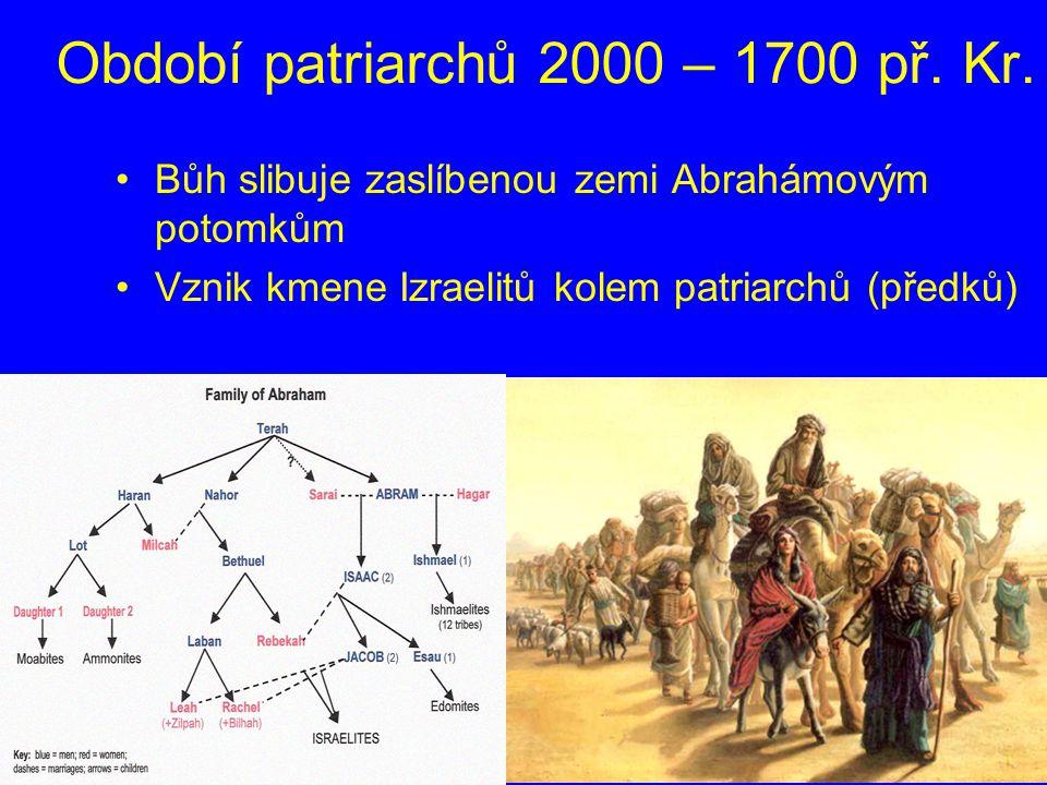 Období patriarchů 2000 – 1700 př. Kr. Bůh slibuje zaslíbenou zemi Abrahámovým potomkům Vznik kmene Izraelitů kolem patriarchů (předků)