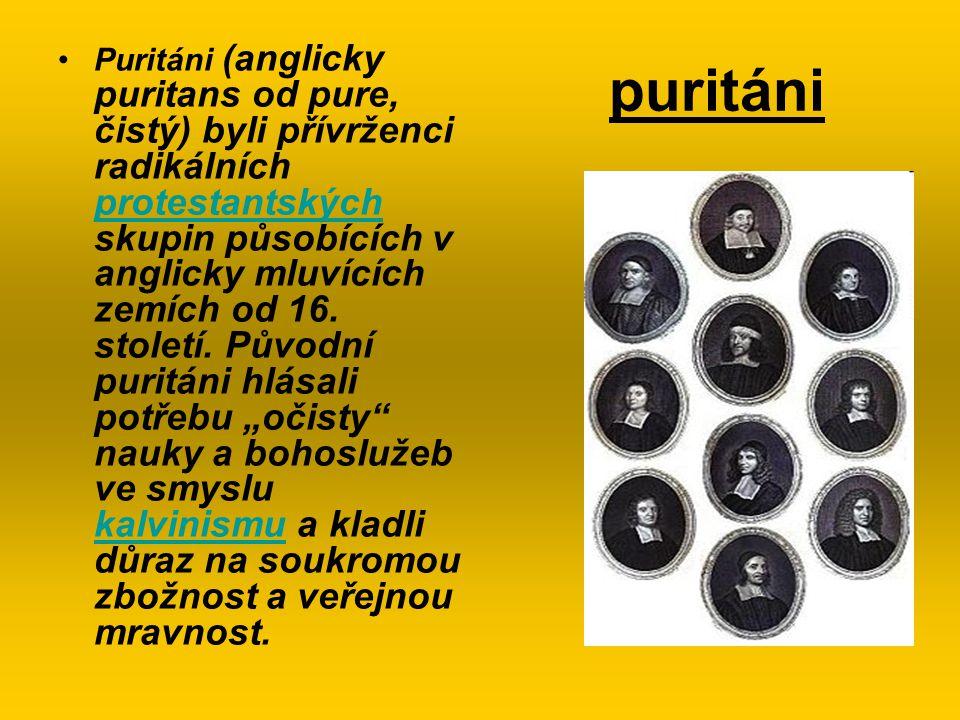 puritáni Puritáni (anglicky puritans od pure, čistý) byli přívrženci radikálních protestantských skupin působících v anglicky mluvících zemích od 16.