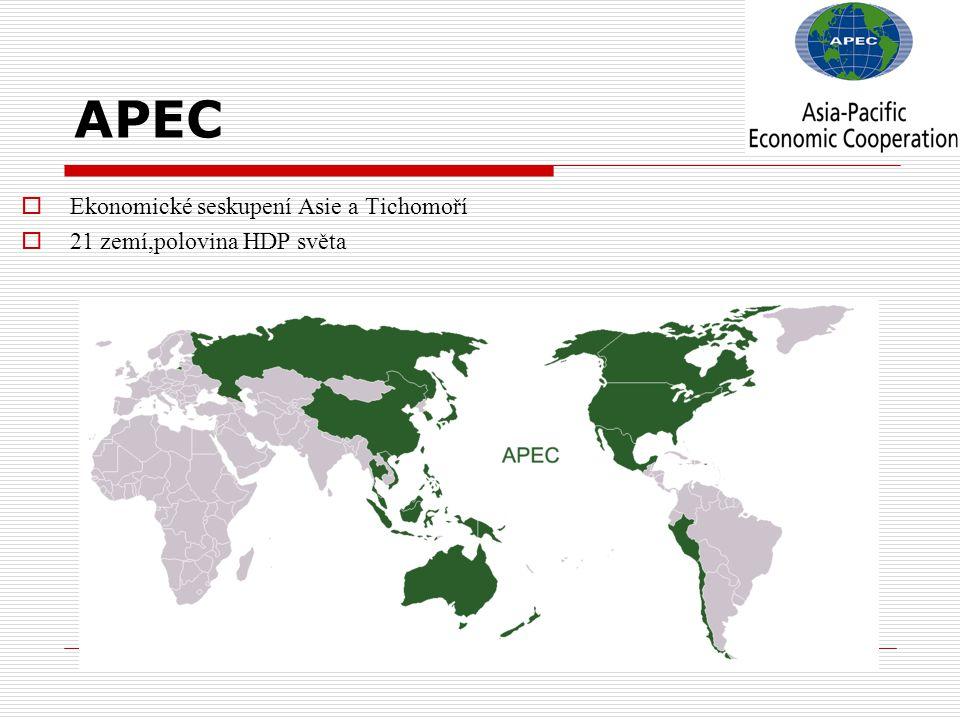 APEC  Ekonomické seskupení Asie a Tichomoří  21 zemí,polovina HDP světa