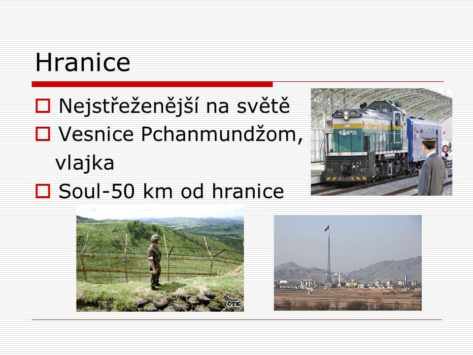 Hranice  Nejstřeženější na světě  Vesnice Pchanmundžom, vlajka  Soul-50 km od hranice