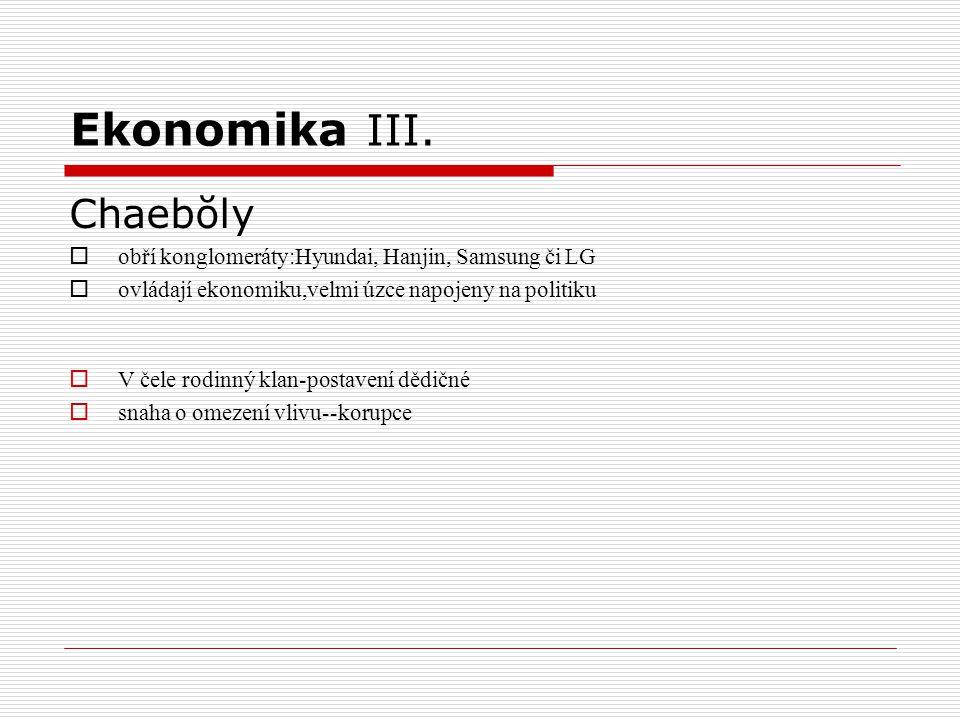 Ekonomika III. Chaebŏly  obří konglomeráty:Hyundai, Hanjin, Samsung či LG  ovládají ekonomiku,velmi úzce napojeny na politiku  V čele rodinný klan-