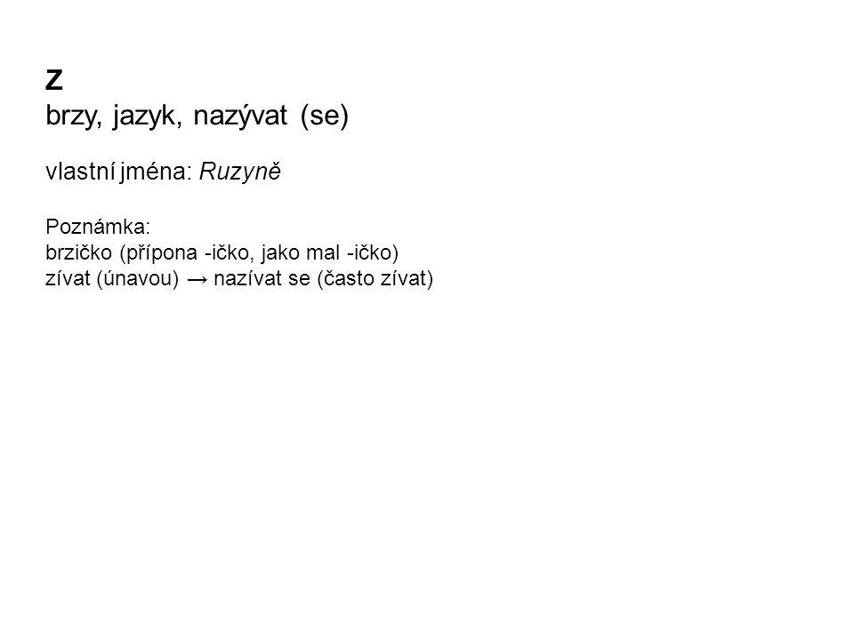 Z brzy, jazyk, nazývat (se) vlastní jména: Ruzyně Poznámka: brzičko (přípona -ičko, jako mal -ičko) zívat (únavou) → nazívat se (často zívat)