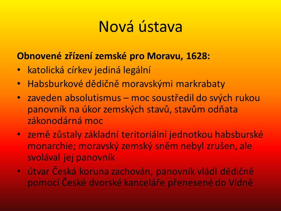 Nová ústava Obnovené zřízení zemské pro Moravu, 1628: katolická církev jediná legální Habsburkové dědičně moravskými markrabaty zaveden absolutismus –