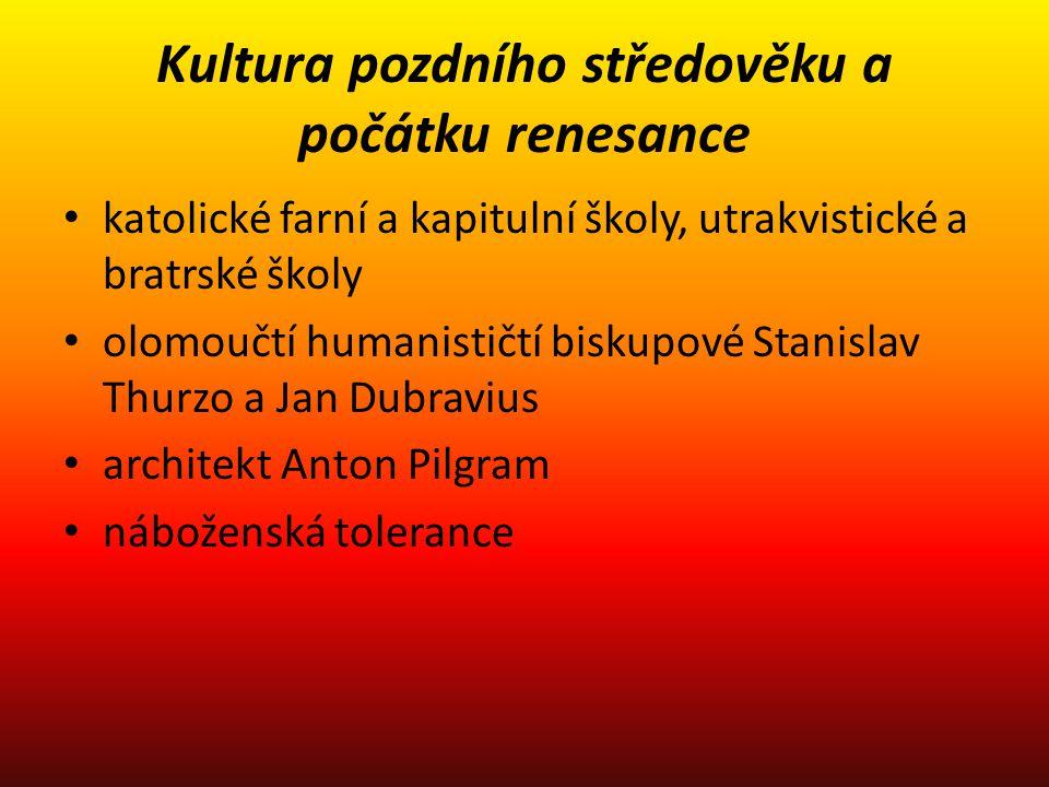 Olomouc – jezuitská kolej povýšena v roce 1573 na první univerzitu na Moravě Jihlava – textilní centrum cechy, pokusy vytvořit obchodní společnosti propast mezi šlechtou a městy narušila stavovskou soudržnost země v době náboženského konfliktu povyšování do šlechtického stavu bylo silným právem panovníka Trident přinesl i Moravě po sto letech konec nadkonfesijního křesťanství a konfesionalizaci katolický biskup Stanislav Pavlovský, biskup Jednoty bratrské Jan Blahoslav Moravská zemská konfese