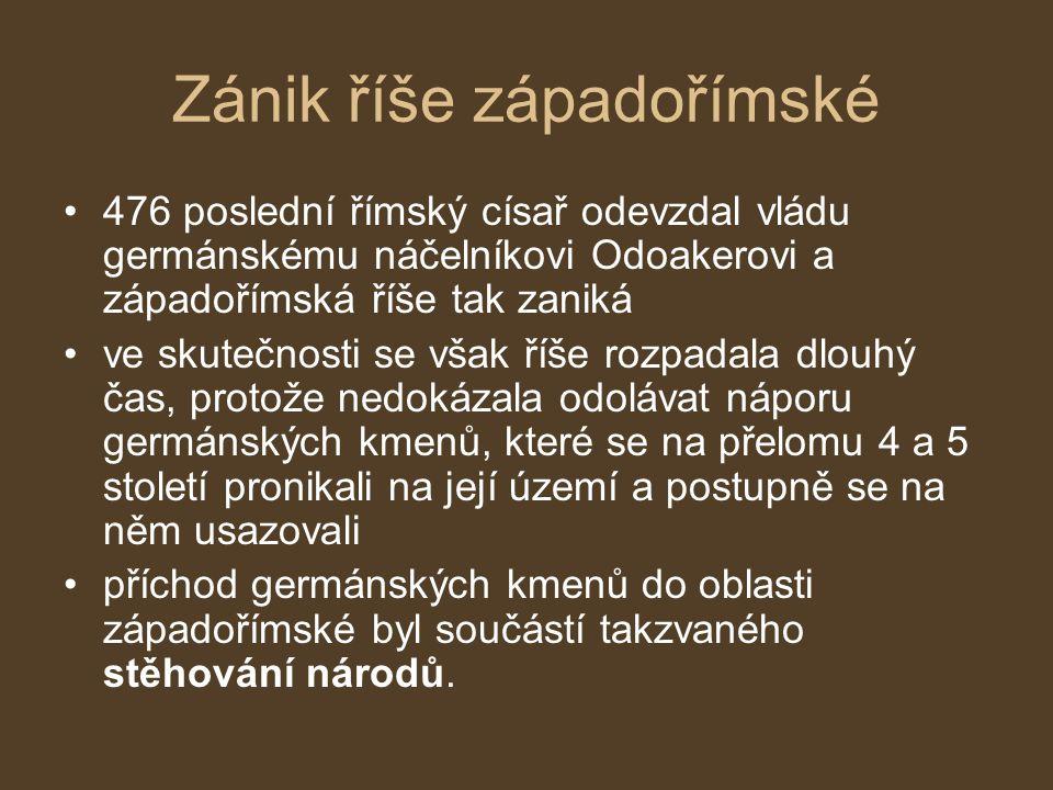 Stěhování národů velké stěhování národů změnilo osídlení Evropy začalo přesuny kmenů na území východní Evropy ve 2.
