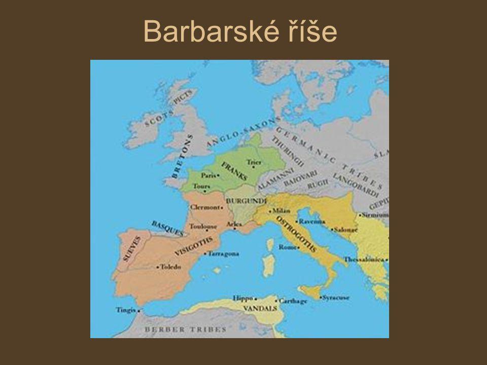 Barbaři a římské dědictví výrazem barbar označovali Římané všechny cizince, kteří měli jiné zvyky a vyznávali jiné hodnoty z jejich pohledu to byli lidé nevzdělaní a nekulturní Germáni a původní římské obyvatelstvo však spolu jen nebojovali, žili také vedle sebe, vzájemné soužití obě strany ovlivnilo způsobu, jakým Germáni přebírali římské kulturní dědictví nazýváme romanizace: přijímání křesťanství převzetí písma (později se z něj vyvinula latinka) latina se stala základem románských jazyků (italština, francouzština, španělština, portugalština,..)
