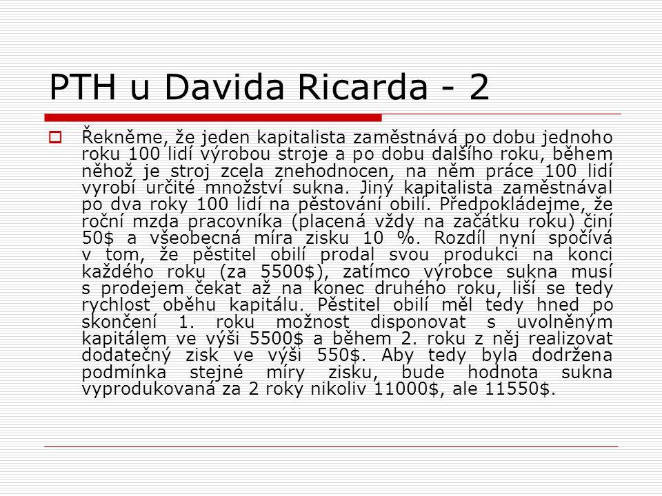 PTH u Davida Ricarda - 2  Řekněme, že jeden kapitalista zaměstnává po dobu jednoho roku 100 lidí výrobou stroje a po dobu dalšího roku, během něhož j