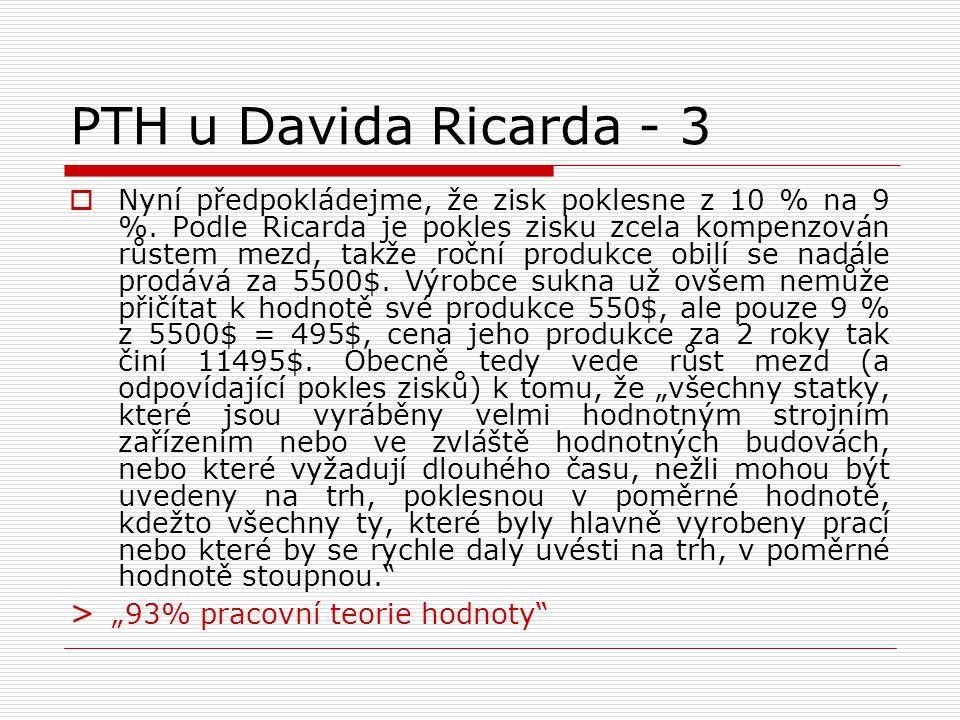 PTH u Davida Ricarda - 3  Nyní předpokládejme, že zisk poklesne z 10 % na 9 %. Podle Ricarda je pokles zisku zcela kompenzován růstem mezd, takže roč