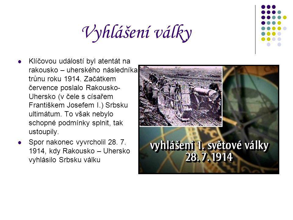 Vyhlášení války Klíčovou událostí byl atentát na rakousko – uherského následníka trůnu roku 1914. Začátkem července poslalo Rakousko- Uhersko (v čele