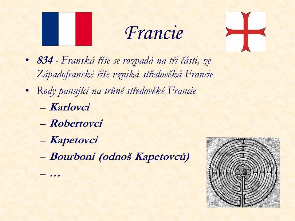 Francie 834 - Franská říše se rozpadá na tři části, ze Západofranské říše vzniká středověká Francie Rody panující na trůně středověké Francie –Karlovc