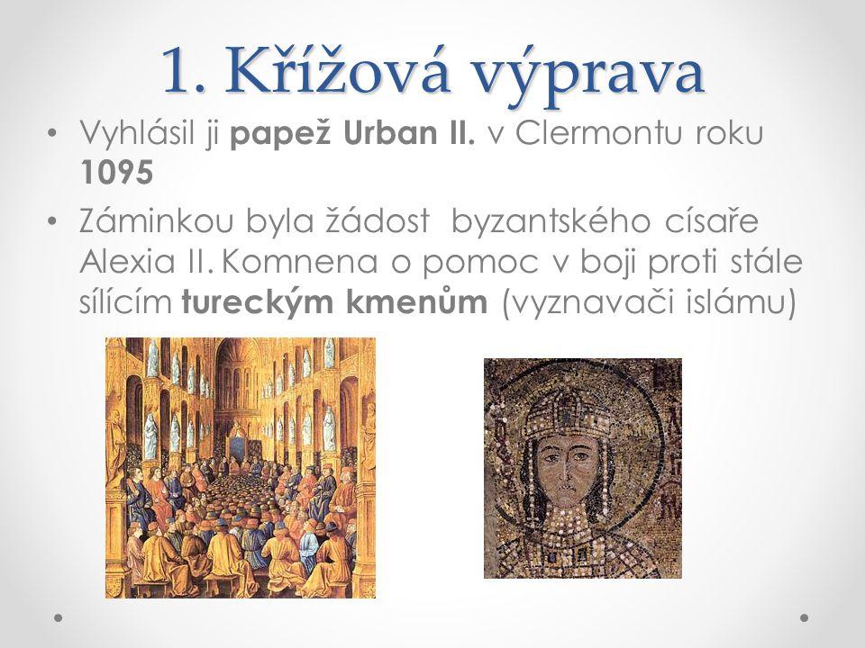 1. Křížová výprava Vyhlásil ji papež Urban II. v Clermontu roku 1095 Záminkou byla žádost byzantského císaře Alexia II. Komnena o pomoc v boji proti s