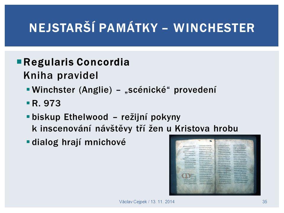 """ Regularis Concordia Kniha pravidel  Winchster (Anglie) – """"scénické"""" provedení  R. 973  biskup Ethelwood – režijní pokyny k inscenování návštěvy t"""