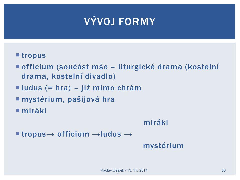  tropus  officium (součást mše – liturgické drama (kostelní drama, kostelní divadlo)  ludus (= hra) – již mimo chrám  mystérium, pašijová hra  mi