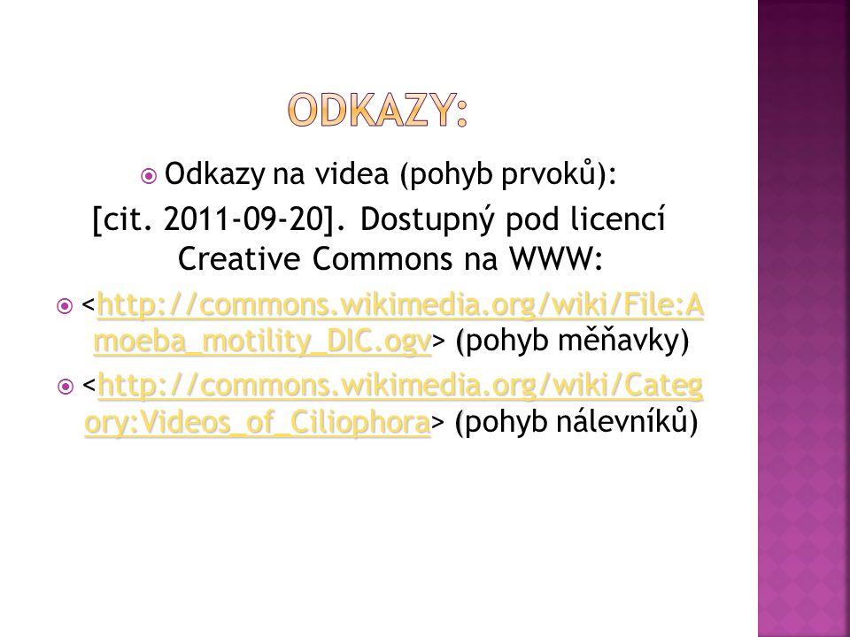  Odkazy na videa (pohyb prvoků): [cit. 2011-09-20]. Dostupný pod licencí Creative Commons na WWW: http://commons.wikimedia.org/wiki/File:A moeba_moti