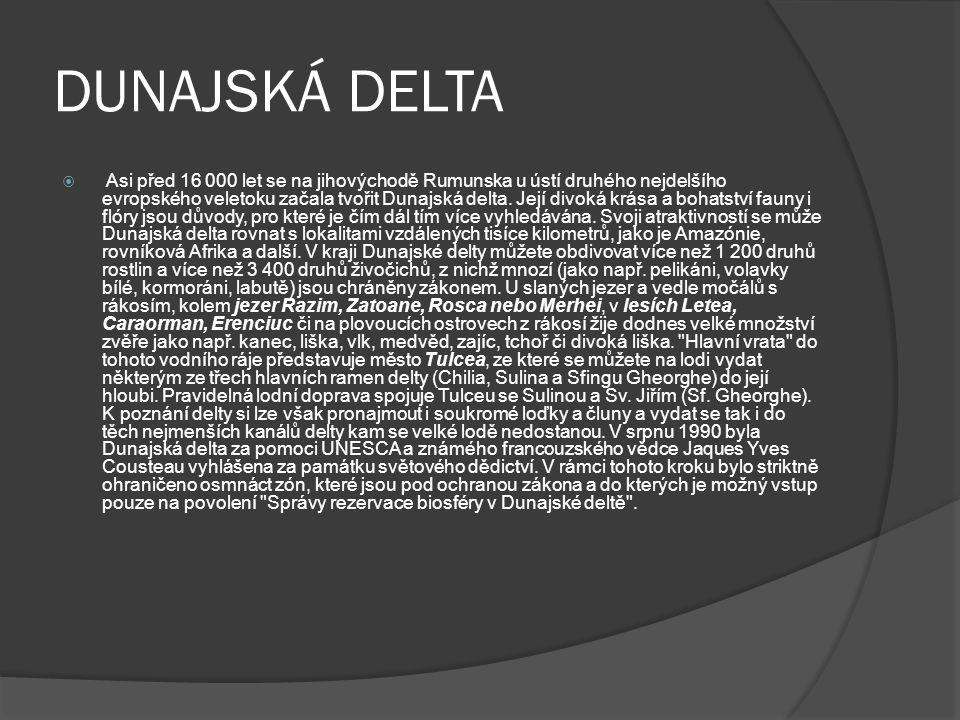 DUNAJSKÁ DELTA  Asi před 16 000 let se na jihovýchodě Rumunska u ústí druhého nejdelšího evropského veletoku začala tvořit Dunajská delta.