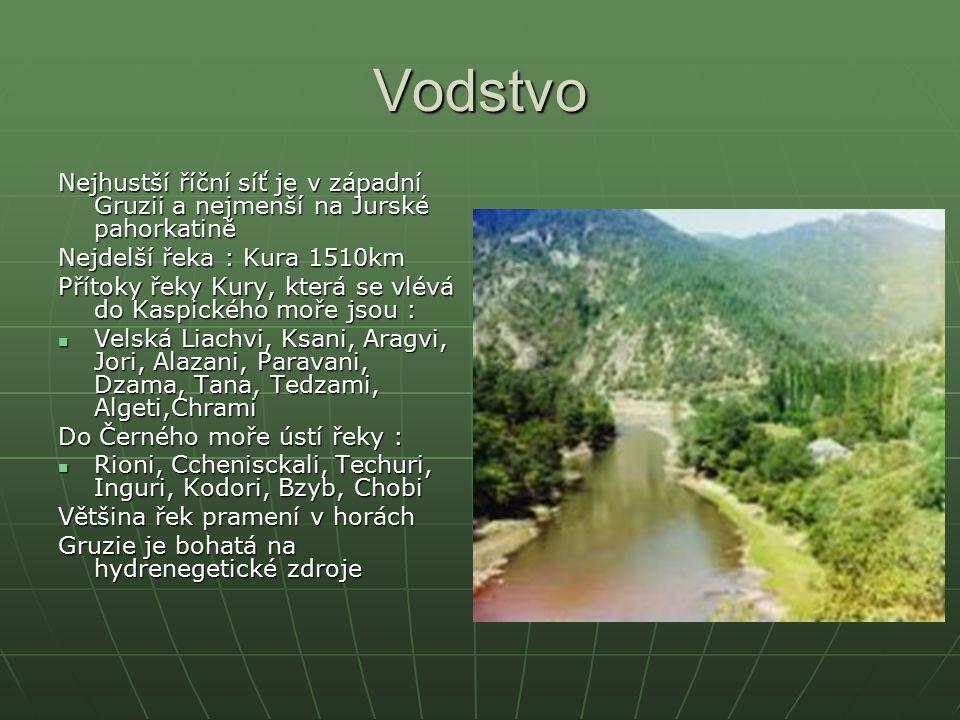 Vodstvo Nejhustší říční síť je v západní Gruzii a nejmenší na Jurské pahorkatině Nejdelší řeka : Kura 1510km Přítoky řeky Kury, která se vlévá do Kasp
