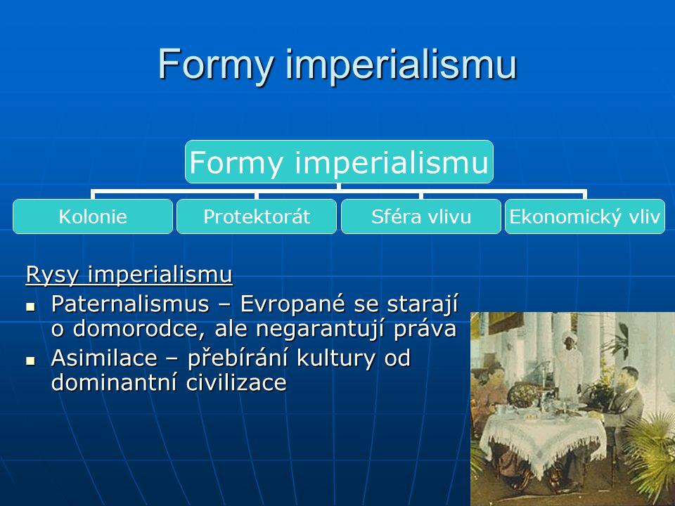 Formy imperialismu Rysy imperialismu Paternalismus – Evropané se starají o domorodce, ale negarantují práva Paternalismus – Evropané se starají o domo