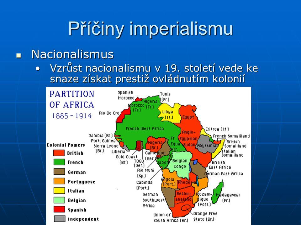 Příčiny imperialismu Nacionalismus Nacionalismus Vzrůst nacionalismu v 19. století vede ke snaze získat prestiž ovládnutím koloniíVzrůst nacionalismu