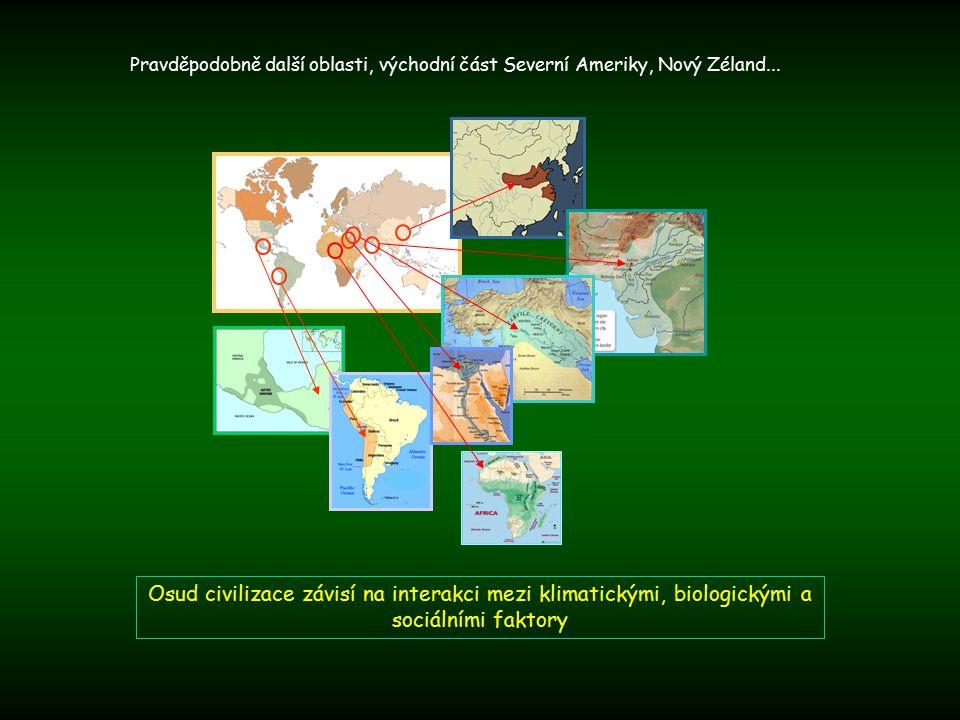 Osud civilizace závisí na interakci mezi klimatickými, biologickými a sociálními faktory Pravděpodobně další oblasti, východní část Severní Ameriky, Nový Zéland...