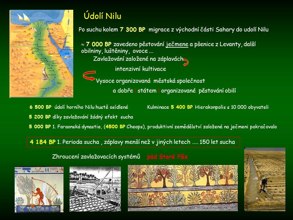 Údolí Nilu Po suchu kolem 7 300 BP migrace z východní části Sahary do udolí Nilu Zavlažování založené na záplavách intenzivní kultivace  7 000 BP zavedeno pěstování ječmene a pšenice z Levanty, další obilniny, luštěniny, ovoce...