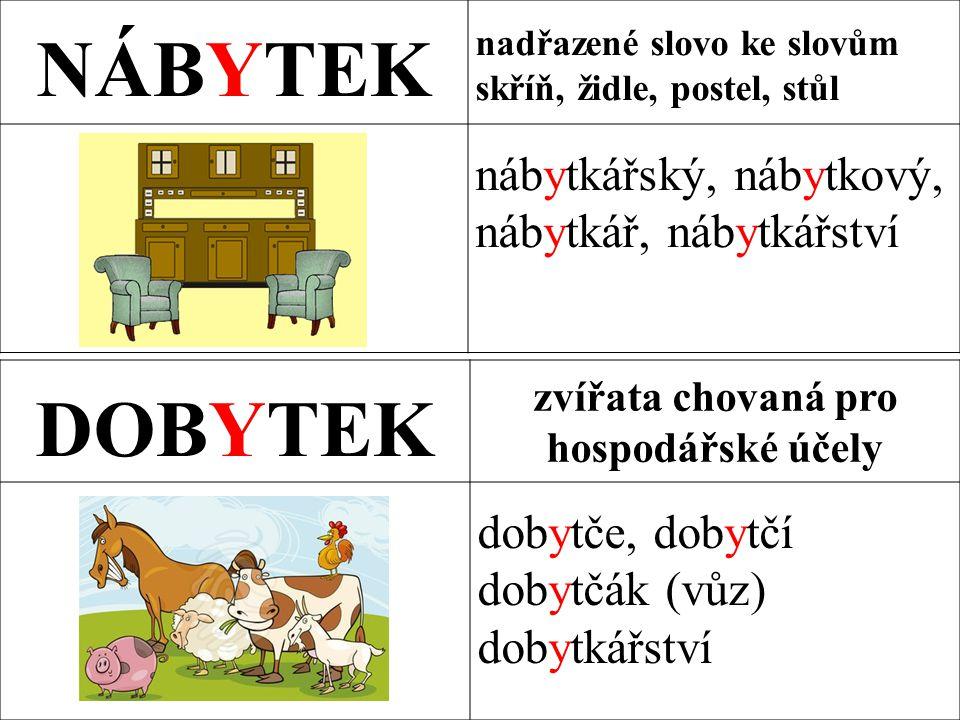 NÁBYTEK nadřazené slovo ke slovům skříň, židle, postel, stůl nábytkářský, nábytkový, nábytkář, nábytkářství DOBYTEK zvířata chovaná pro hospodářské účely dobytče, dobytčí dobytčák (vůz) dobytkářství