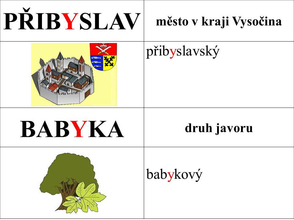 PŘIBYSLAV město v kraji Vysočina přibyslavský BABYKA druh javoru babykový