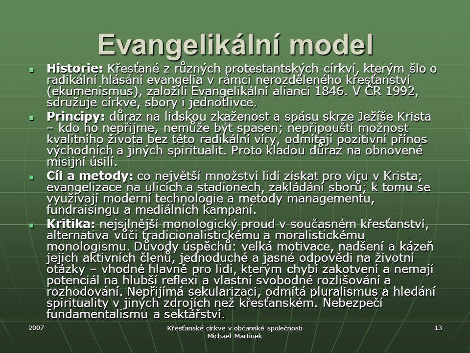 2007 Křesťanské církve v občanské společnosti Michael Martinek 13 Evangelikální model Historie: Křesťané z různých protestantských církví, kterým šlo