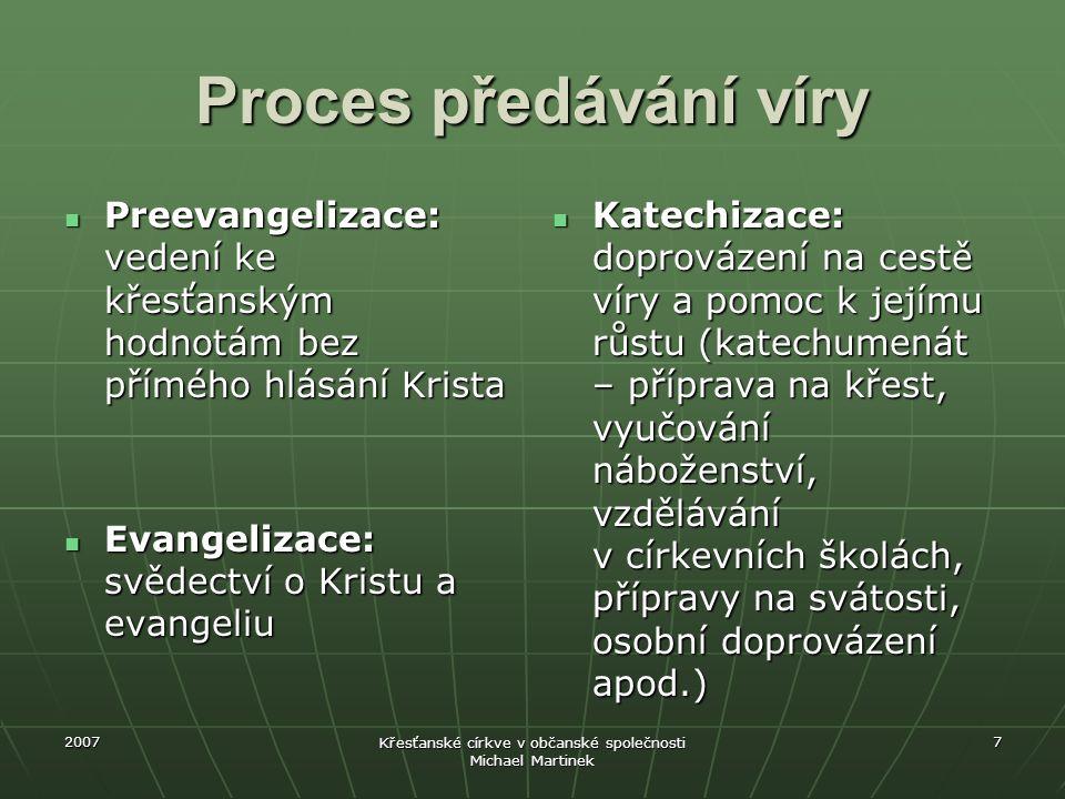 2007 Křesťanské církve v občanské společnosti Michael Martinek 7 Proces předávání víry Preevangelizace: vedení ke křesťanským hodnotám bez přímého hlá