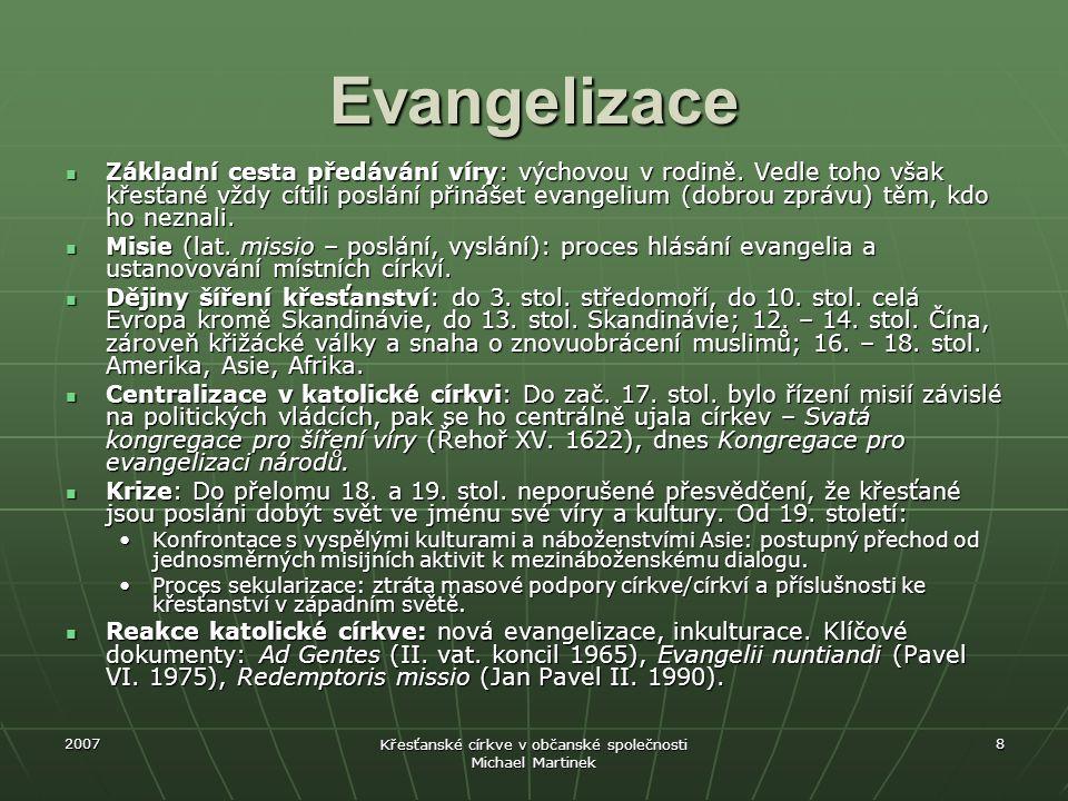 2007 Křesťanské církve v občanské společnosti Michael Martinek 8 Evangelizace Základní cesta předávání víry: výchovou v rodině. Vedle toho však křesťa