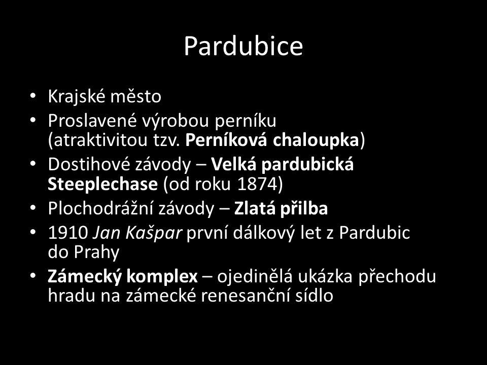 Pardubice Krajské město Proslavené výrobou perníku (atraktivitou tzv. Perníková chaloupka) Dostihové závody – Velká pardubická Steeplechase (od roku 1