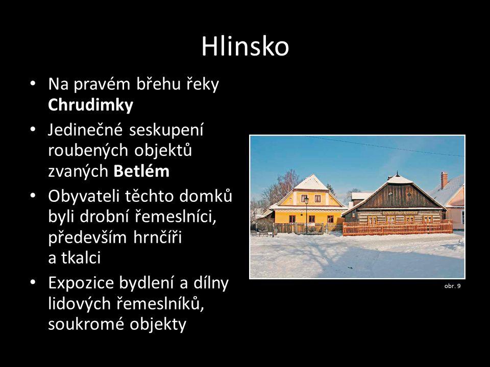 Hlinsko Na pravém břehu řeky Chrudimky Jedinečné seskupení roubených objektů zvaných Betlém Obyvateli těchto domků byli drobní řemeslníci, především h