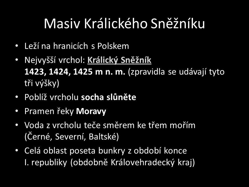 Masiv Králického Sněžníku Leží na hranicích s Polskem Nejvyšší vrchol: Králický Sněžník 1423, 1424, 1425 m n. m. (zpravidla se udávají tyto tři výšky)