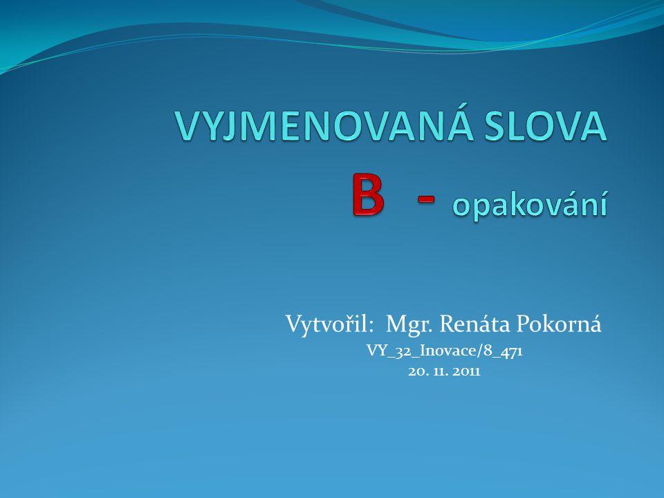 Vytvořil: Mgr. Renáta Pokorná VY_32_Inovace/8_471 20. 11. 2011